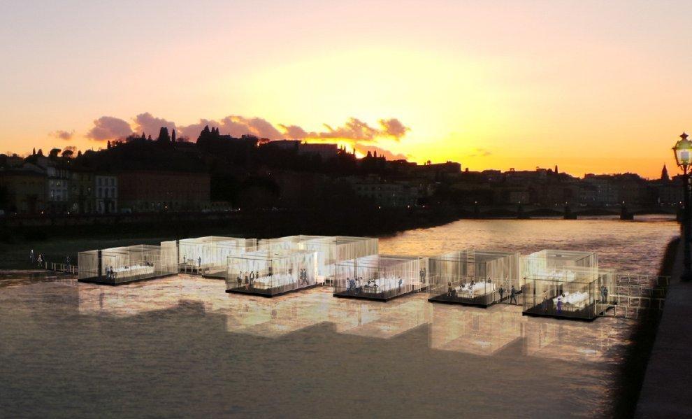 Cenare sull'acqua a Firenze. E aiutare i rifugiati